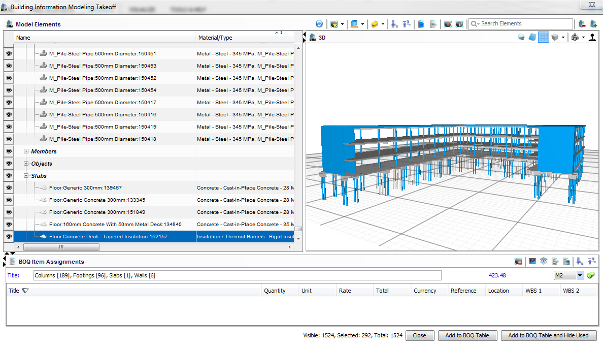PRISM Estimating screen shot of construction modeling